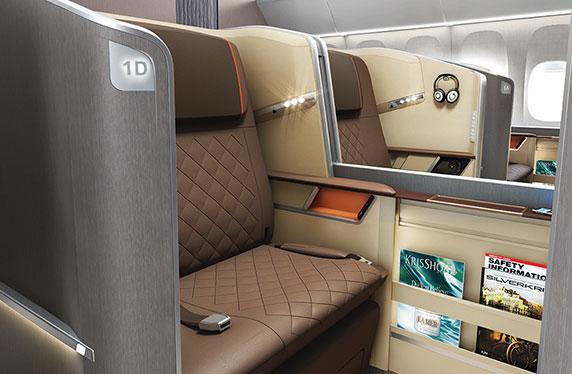 シンガポール航空777–300ER 新しいファーストクラスシート