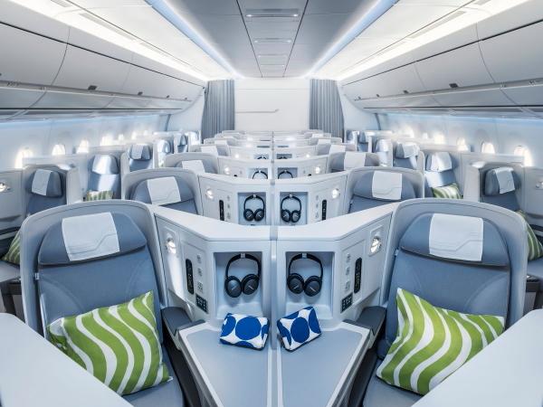 フィンランド航空最新a350-900ビジネスクラスキャビン