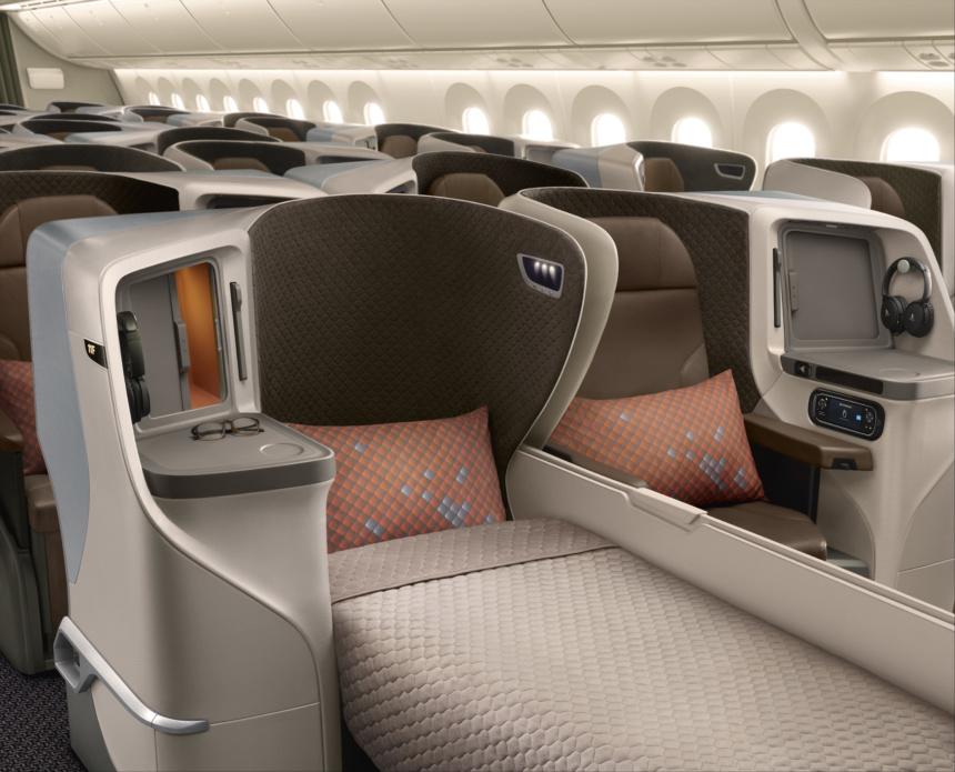 シンガポール航空787-10ビジネスクラス新シートーフルフラットベッド利用時