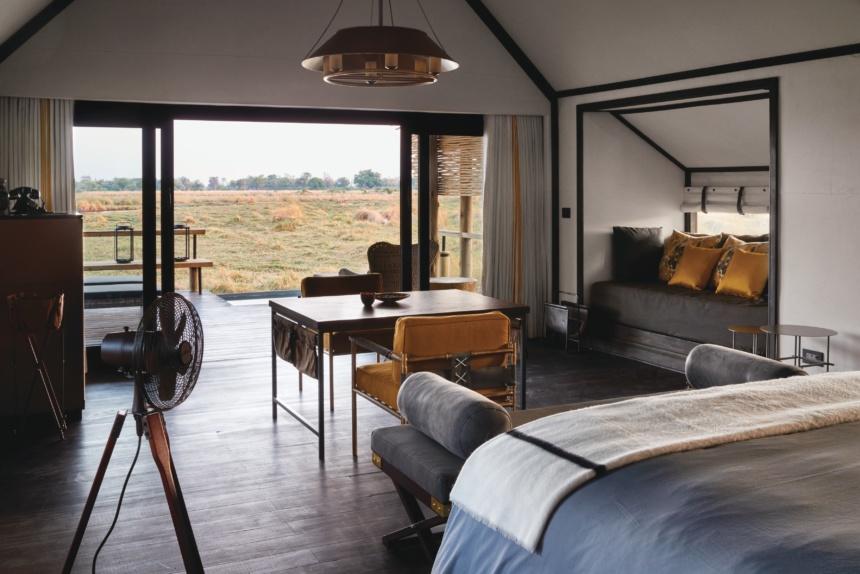 豪華テントの内装:Belmond Safaris, Eagle Island Lodge, Okavango, Botswana.