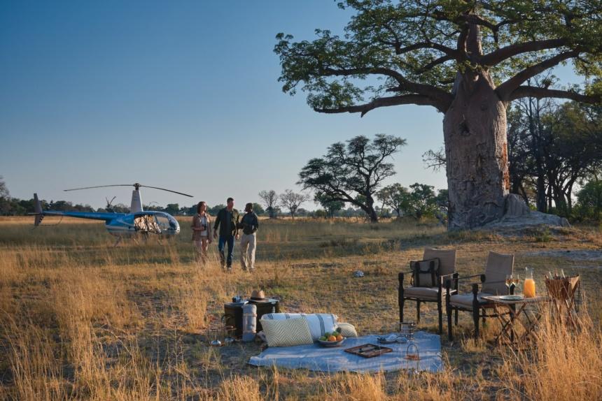 上空からのシグネチャーヘリコプターサファリ:Belmond Safaris, Eagle Island Lodge,