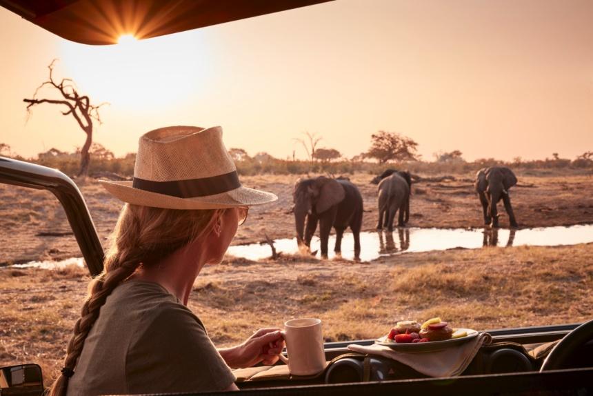 ロッジの目の前に象の親子:Belmond Safaris, Savute Elephant Lodge, Botswana.
