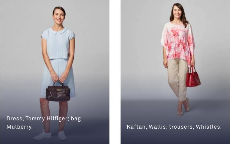 女性: ブラウスにスカートやスラックスなど。