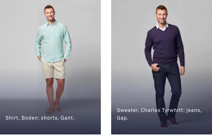 男性: 襟付きシャツやポロシャツにスラックスなど。 上下別々色でOK。ネクタイ不要。