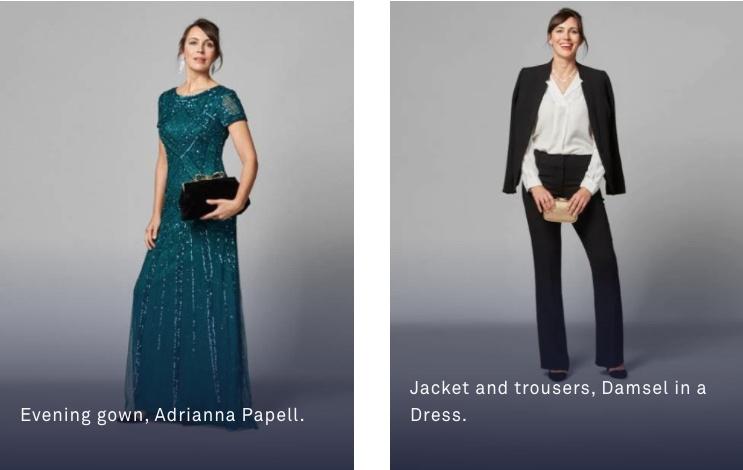 女性: イブニングドレスやパーティドレスに和服もお勧め、 ワンピースなら派手めのアクセサリー。 ショールはあると便利ですよ(寒さ対策など)。