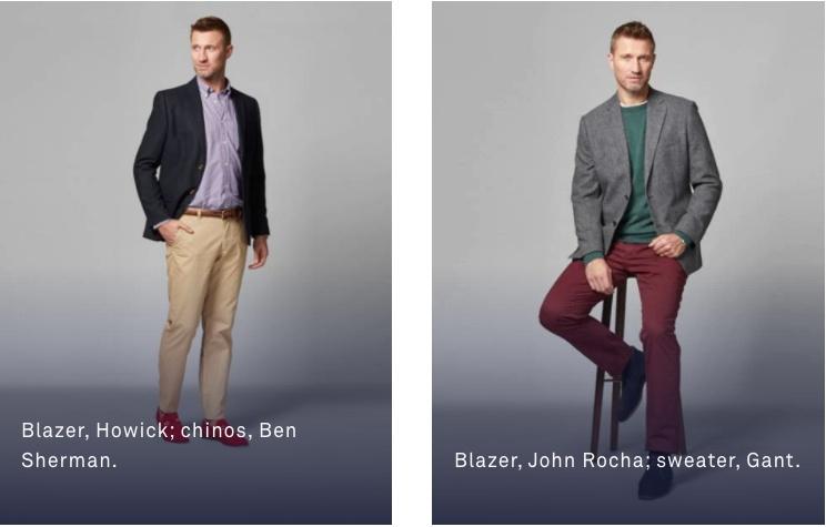 男性: ジャケットやブレザーなど着用。 上下はそろえたほうがよい。ネクタイはあったほうがよい。