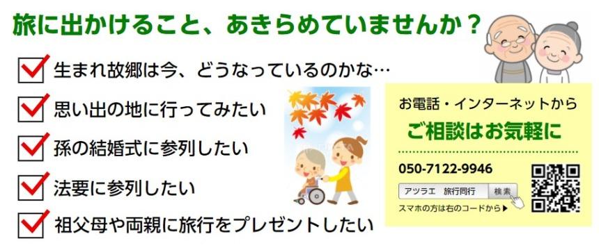高齢者の旅行同行サービスは介護付きで障害者の方でも安心してご利用いただけます。外出支援の事なら名古屋のアツラエ|旅誂屋にお任せください